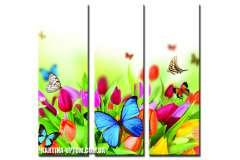 Бабочки на тюльпанах (модульная)