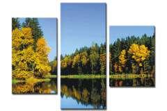 Озеро в осеннем лесу (модульная)
